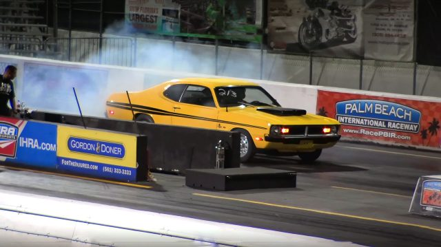 Watch this Original 71 Dodge Demon does 40 Foot Wheelie !