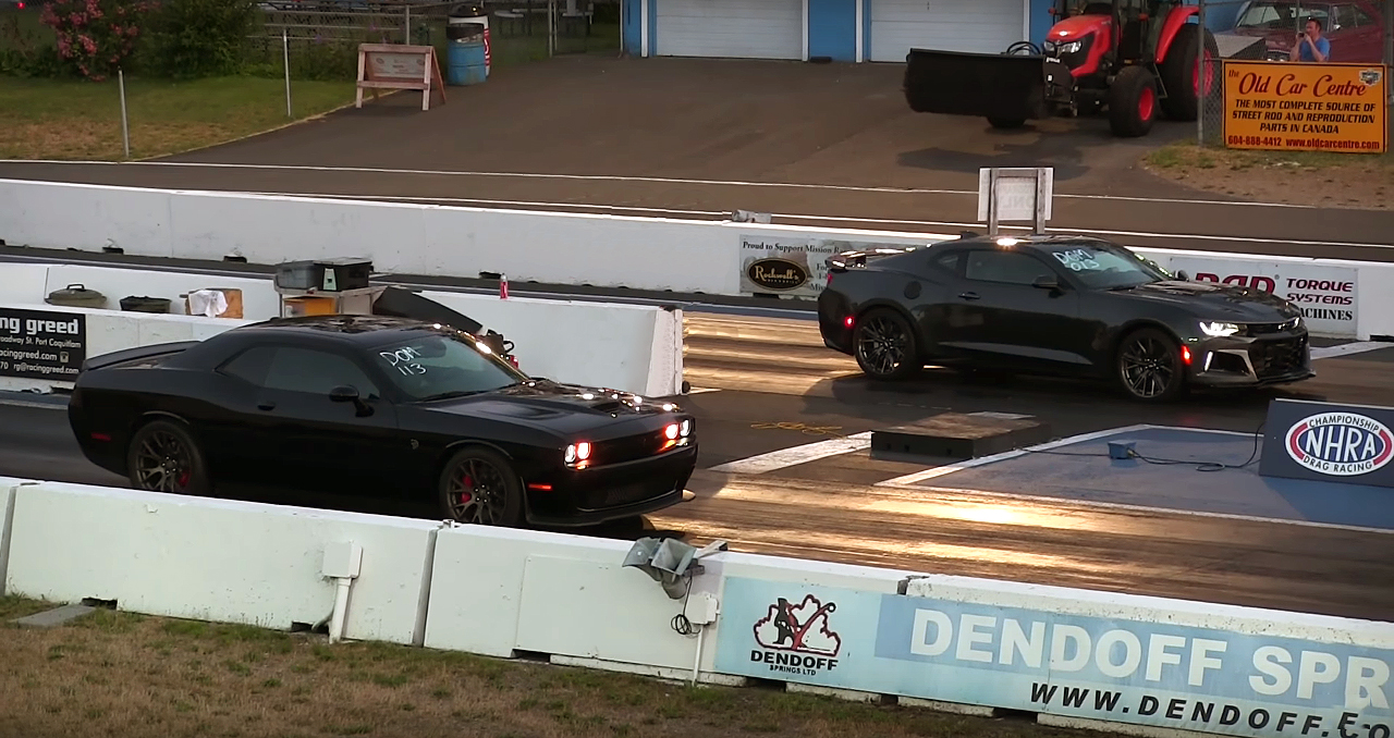 Watch this Race Between 707 Horsepower Hellcat Challenger vs 650 Horsepower ZL1 Camaro