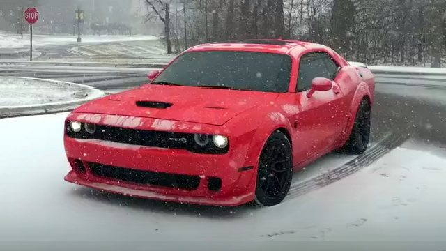 Widebody Hellcat Challenger Snow Donuts