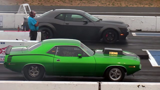 Hemi Cuda against the Dodge Demon