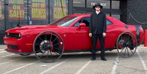 Hilarious Challenger Hellcat on Buggy Wheels