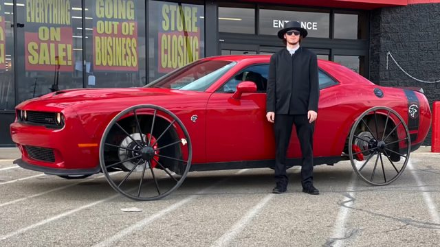 Challenger Hellcat on Buggy Wheels